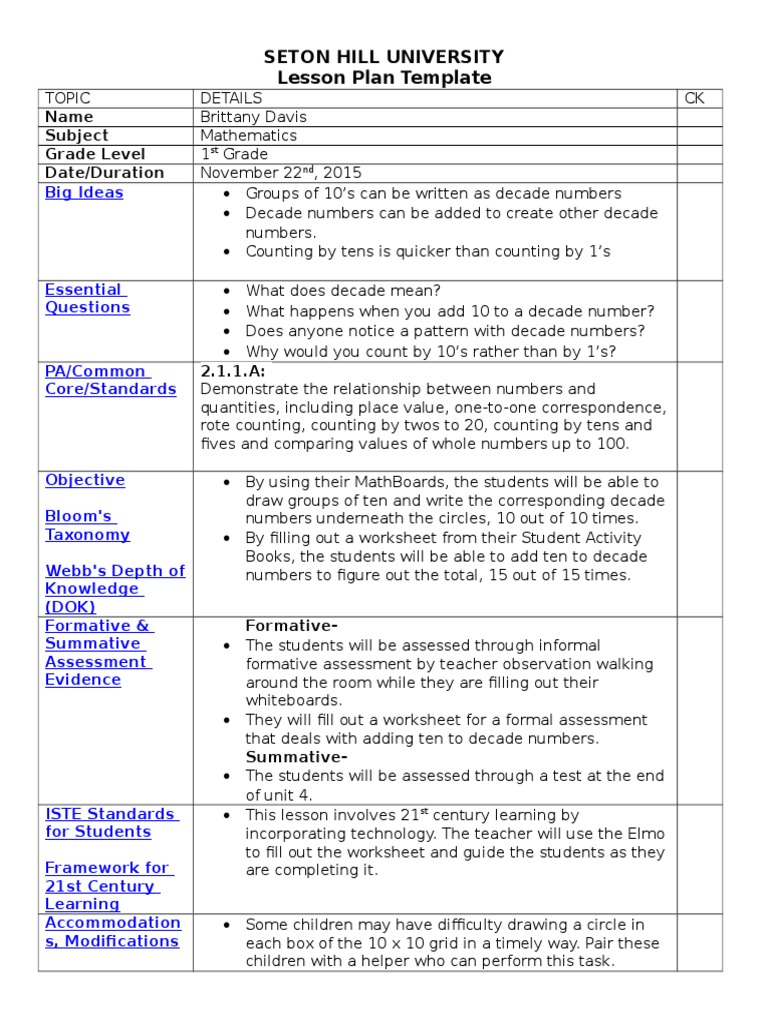 Lesson plan 1st grade counting by 10s educational assessment lesson plan 1st grade counting by 10s educational assessment lesson plan saigontimesfo