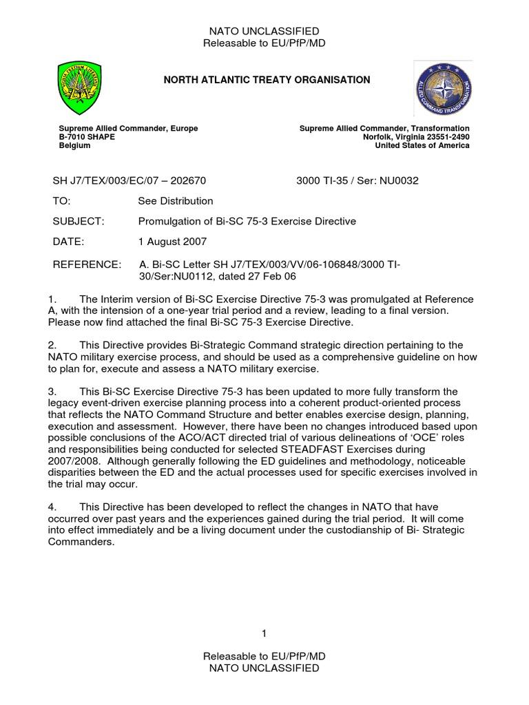 Nato bi sc 75 3 exercise directive 1 aug 07 nato military spiritdancerdesigns Images