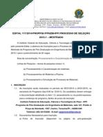 Edital Do Mestrado de Ciencias Dos Materias IFPI 2014