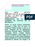 Casacion Laboral 857 Arequipa, Plazos Para Accionar Reposicion Laboral