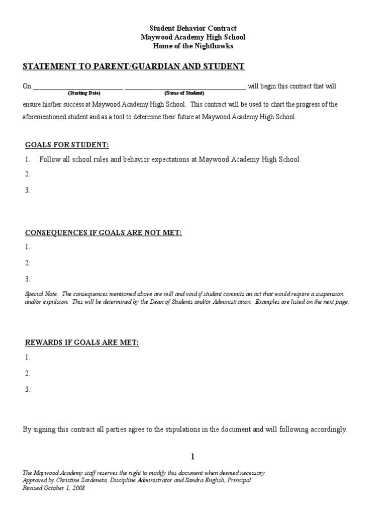 Behavior Contract | Student Behavior Contract Sample Crime Justice Justice