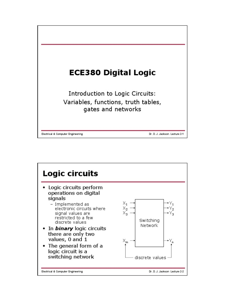 Lect02 2truth Table Logic Gate Electronic Circuits