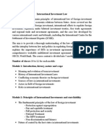 International Investment Law syllabus