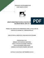 Efecto Redistributivo de a Política Fiscal en el año 2012 en El Salvador