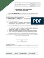EjemploPolítica de Seguridad y Salud en El Trabajo, Declaración y Divulgación