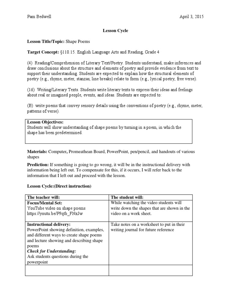 worksheet Sensory Details Worksheet micro teach lesson plan poetry cognition