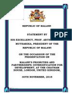 "President Arthur Peter Mutharika's Presentation on ""Malawi's Priorities and Partnerships"