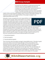 MBA Dissertation Sample on Project Management