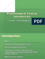 Introduction to Pscyhological Testing