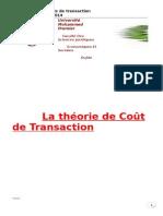 La Théorie de Coût de Transaction