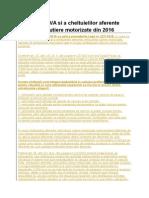 Deducerea TVA Si a Cheltuielilor Aferente Vehiculelor Rutiere Motorizate Din 2016