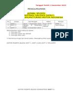 Jadwal Seleksi Administrasi Toyota