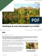 L'Amérique Du Sud a Été Peuplée Il y a 15000
