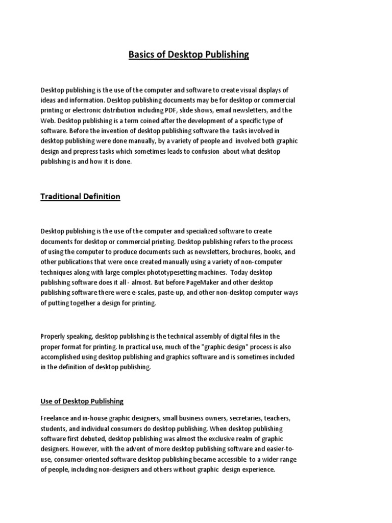 basics of desktop publishing | microsoft word | page layout