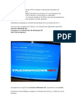 instalar nuevamente Windows XP