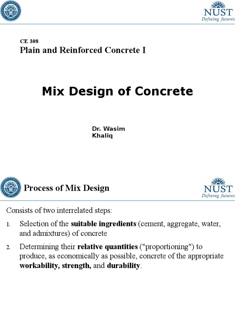 CE 308 Lec 9 Mix Design of Concrete | Construction Aggregate