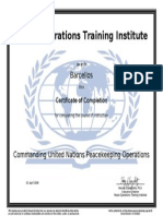 Commanding Un Peacekeeping Operations Certificate
