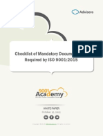Checklist of ISO 9001 2015 Mandatory Documentation En