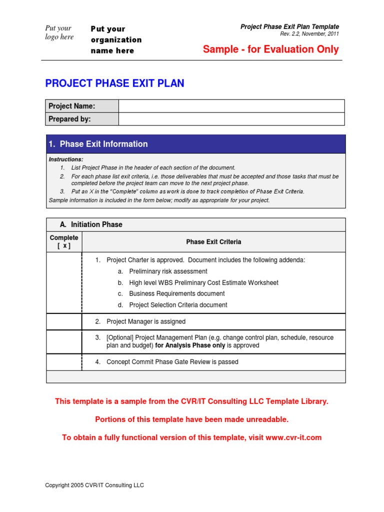 Xphase Exit Plan Template Pdf Production And Manufacturing Project Management