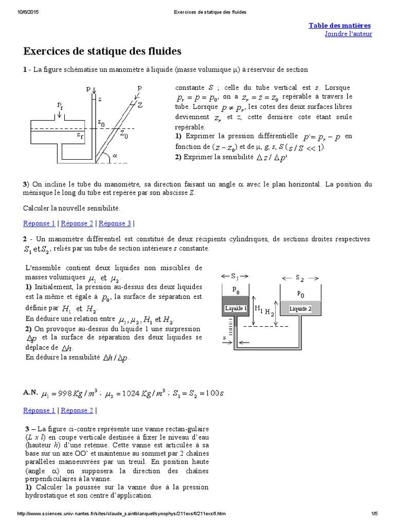 Exercices de Statique Des Fluides | Altitude | Pression