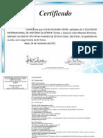Certificado Ouvinte II Colóquio Internacional de História Da Africa