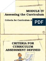 Assessment of Curriculum Development