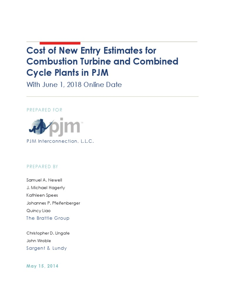 Cost Of New Entry Estimates For Combustion Turbine And Combined
