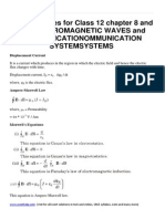 Physics Notes for Class 12 Chapter 8 and 15 Electromagnetic Waves and Communicationommunication Systemsystems