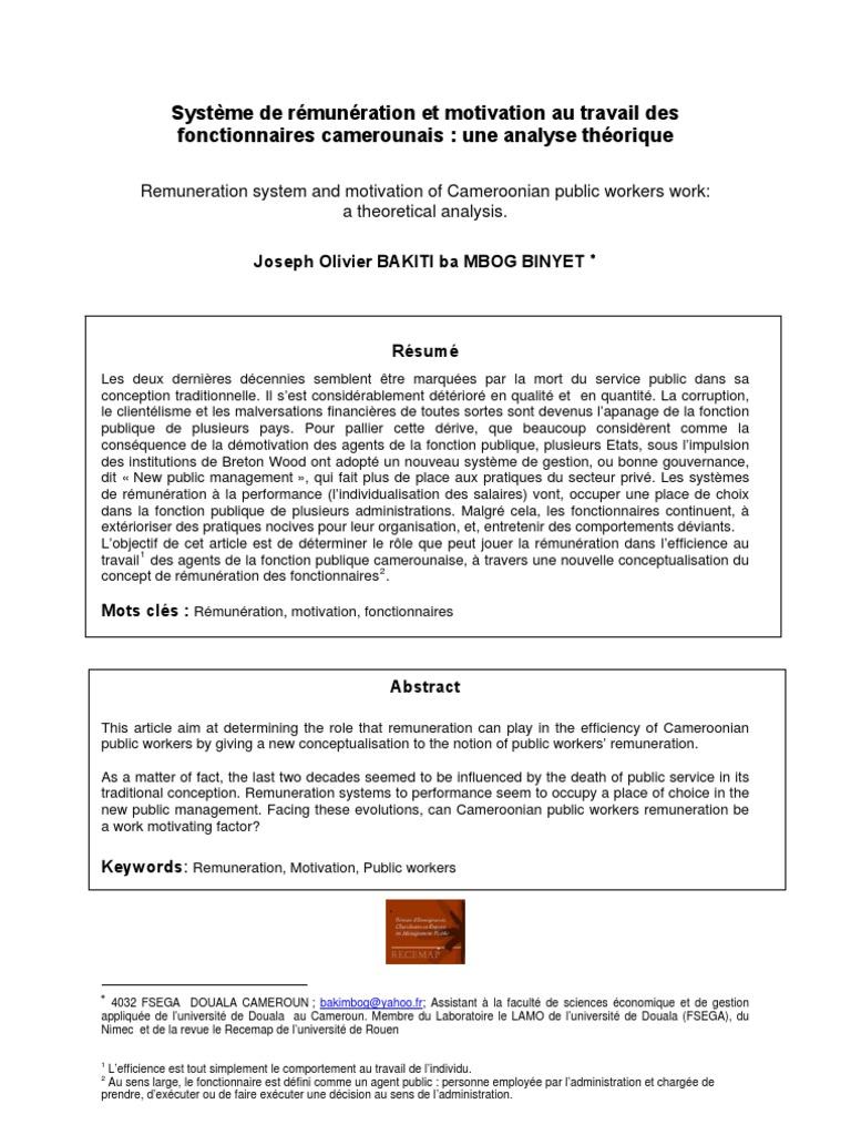 Systeme De Remuneration Et Motivation Au Travail Des Fonctionnaires
