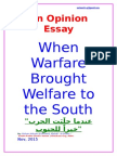5-Paragraph Opinion Essay. When Warfare Brought Welfare to the South