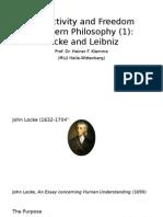 Lecture 1 Subjectivity and Freedom Locke Leibniz
