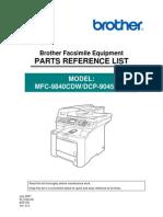Mfc-9840 Parts List