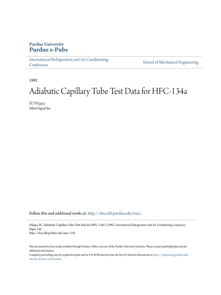 Adiabatic Capillary Tube Test Data for HFC-134a