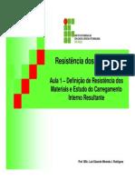 Resistência dos Materiais - Aula 01 - Prof Luiz Eduardo Miranda