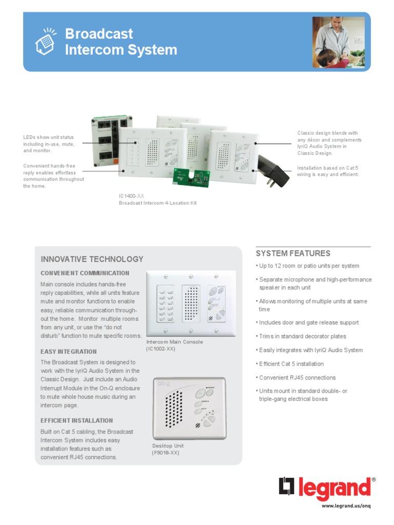 Onq Broadcast Intercom System Manual Electronics Equipment Wiring Diagram