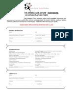 Afterschool Award Nomination Form - Individual 2010