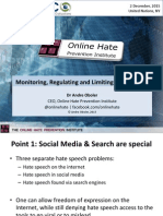 Monitoring, Regulating and Limiting Hate Speech