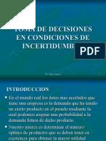 Toma de Decisiones en Condiciones de Incertidumbre