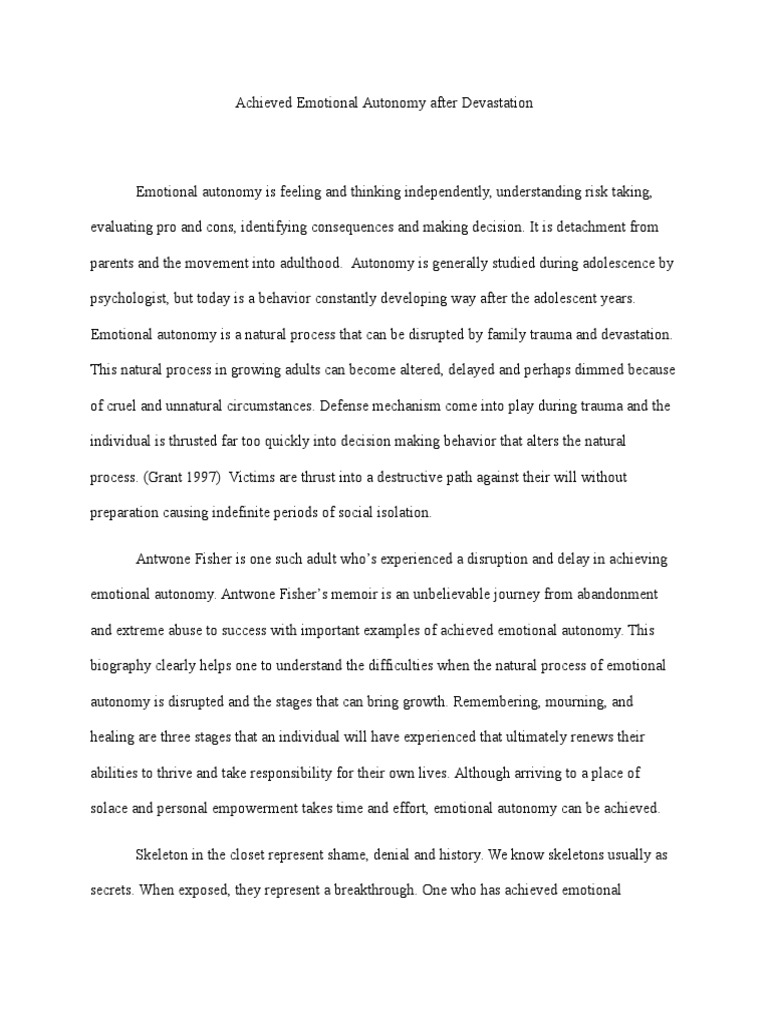 Secondary School English Essay Emotional Autonomy Is Feeling And Thinking Independently  Psychological  Trauma  Adolescence Research Proposal Essay Topics also English Essay Examples Emotional Autonomy Is Feeling And Thinking Independently  First Day Of High School Essay