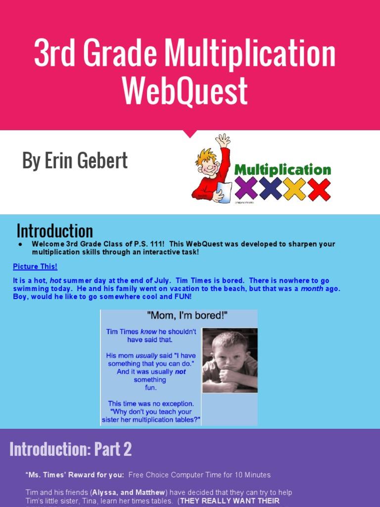 3rd grade multiplication webquest 1 | Multiplication | Pedagogy