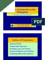 III 5. Status of Asbestos in the Philippines Mr. Elmer BENEDICTOS