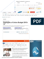 Highlights of Union Budget 2013-14 - Moneycontrol
