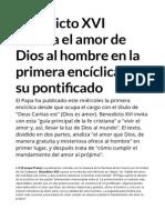Benedicto XVI  El Amor de Dios Al Hombre
