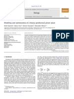 Modeling and Optimization of a Binary Geothermal Power Plant