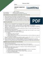 Nursery Staff-Caregiver Position Description [Form 2a]