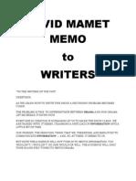 David Mamet Memo to Writers
