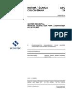 GTC 24 Gestión Integral Residuos Sólidos. Guía Para La Separación en La Fuente