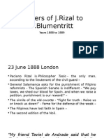 Letters of JRizal to FBlumentritt 1888-1889