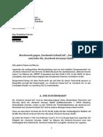 """Beschwerde gegen """"Facebook Ireland Ltd"""", """"Facebook Inc"""" und/oder die """"Facebook Germany GmbH"""""""