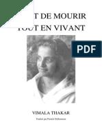 Vimala Thakar - Art de Mourir Tout en Vivant